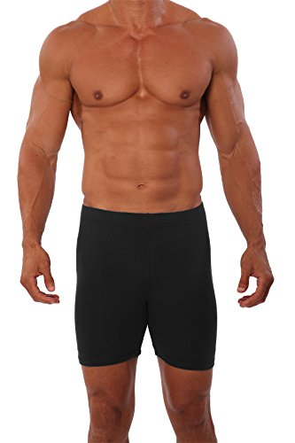 Mens Cotton Lycra Bike Short by Pitbull in Black, Large