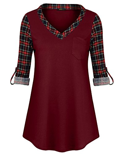 Vafoly Raglan Tops, Womens Casual V Neck Plaid Shirts Christmas 3/4 Sleeve Office Party Button Blouses with Pocket Wine XL