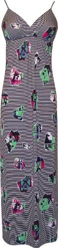 Retro Pop Art Photo Print Sundress Maxi Dress, 3X, Black/Green (Retro Pop)