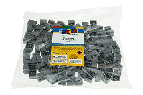Strictly Briks Classic Bricks 144 Piece 2x2 Gray Building Brick Creative Play Set - 100% Compatible with All Major Brick Brands