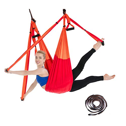 HONGNA Lady Aerial Yoga Hammock 6 Ring with Extension Strap Fitness Stretch Belt Parachute Cloth (Color : Red A)