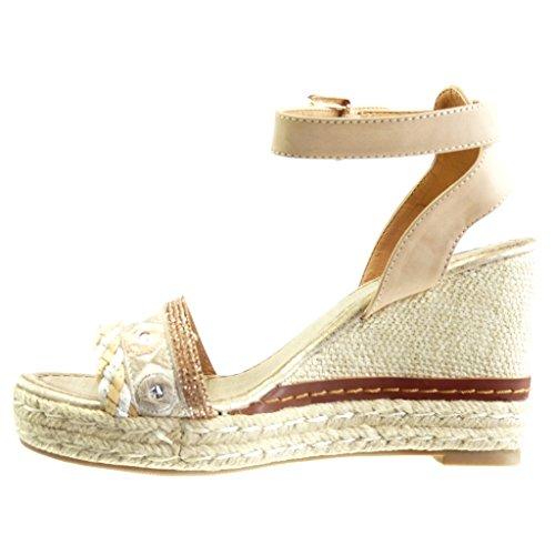 Angkorly Damen Schuhe Sandalen Espadrilles - Plateauschuhe - Strass - String Tanga - Seil Keilabsatz High Heel 10 cm Beige