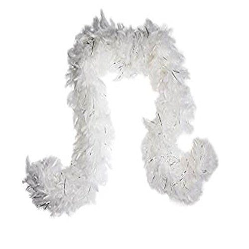 SACASUSA (TM) 100g Feather Chandelle White Boa 6 feet long Silver Tinsels