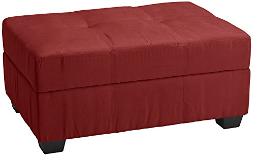 Epic Furnishings Microfiber Suede Upholstered Tufted Padded Hinged Storage Ottoman Bench, 36 by 24 by 18