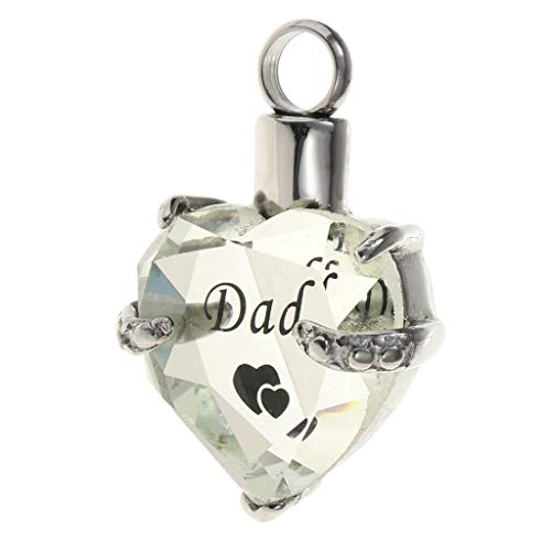 Heart Cremation Urn Pendant for Pet Human Ash Urn Jewelry Memorial Necklace Jewelry Crafting Key Chain Bracelet Pendants Accessories Best| Color - Dad