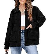 WIHOLL Jackets for Women Fashion Long Sleeve Lapel Zip Up Coats Cropped Fleece Outerwear
