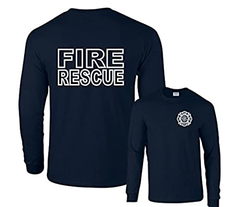 Fair Game Fire Rescue Firefighter Duty Front & Back Long Sleeve T-Shirt-Navy-Small