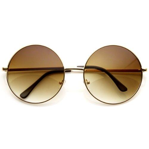 Super Large Oversized Metal Round Circle Sunglasses (Gold/Amber) ()