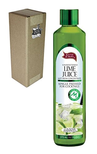 Lime Cocktail - Master of Mixes Cocktail Essentials Single Pressed Lime Juice, 375 ML Glass Bottle (12.7 Fl Oz), Individually Boxed