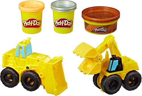 Play-Doh Wheels Excavator & Loader Toy Construction Trucks with Non-Toxic Sand Buildin' Compound Plus 2 Additional Colors