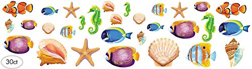 Hawaiian Summer Luau Party Assorted Sea Life Cutout Wall Decoration, 30 Pieces, Made from Paper, Multicolor, 5