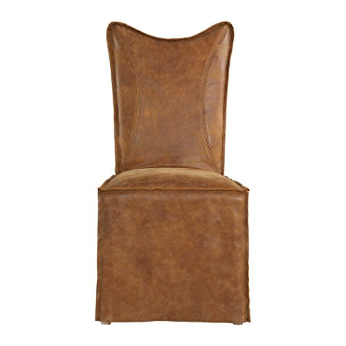 MidCentury Modern Leather Suede Side Dining Chair Set Light Brown Pair Slipcover