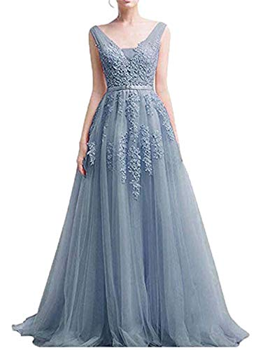 (Women Sexy Vintage Party Wedding Bridesmaid Formal Cocktail Dress Dusty Blue,2)