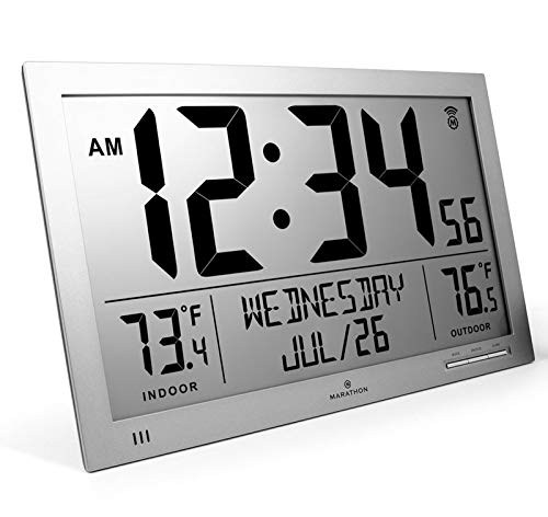 Marathon CL030066GG Slim Full Clock - Grey