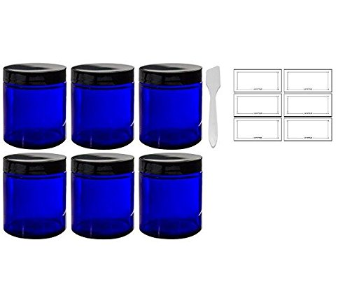 Cobalt Blue Glass Straight Sided Jars - 4 oz / 120 ml (6 pack) + Spatulas and Labels