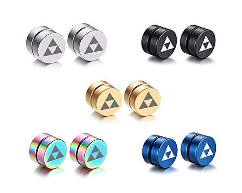 VNOX 5 Pair/Set 8MM Magnet Magnetic Non Piercing Ear The Legend of Zelda Triforce Symbol Earrings (Triforce Piercing)