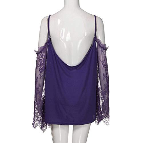 Dame Shirt breal Nues Shirt paules Sling pissure Grande Violet Dentelle Cou Taille T Chemisiers V Haut Tops Femme Mode Et Longues Elgante Manches 8qnFA4wF