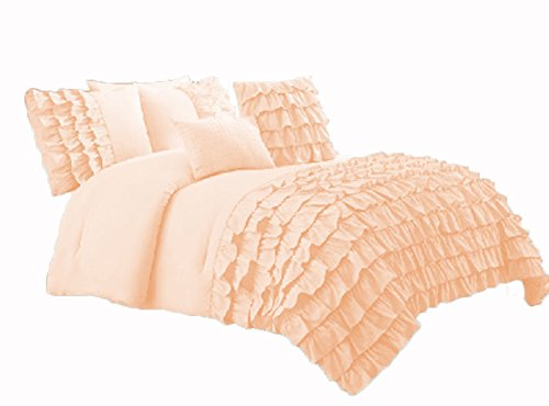 400 Thread Count 2 Piece Premium Waterfall Half Ruffle Duvet Cover Set with Extra Pillow Shams Twin XL 100% Egyptian Cotton Peach price