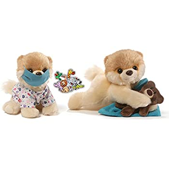 """Gund Itty Bitty Boo Dogs Bedtime Teddy Bear and Scrubs Nurce Special Get Well Soon Set of 2 Plush 5"""" with Safari Animals Sticker"""