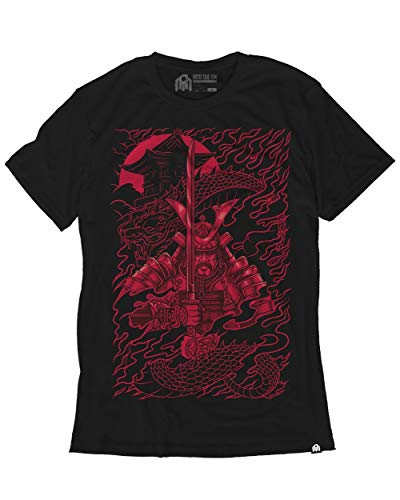 Spring Graphic Tee - INTO THE AM Crimson Samurai Men's Graphic Tee Shirt (X-Large)