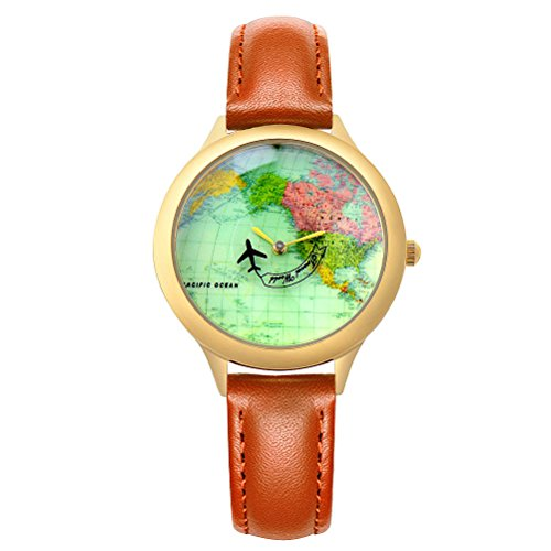 Moving Airplane Women's Causal Wrist Watch for Girls Ladies with Vintage World Map Brown Leather Strap (Map Watches)