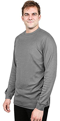 Utopia Wear Round Neck Interlock T-Shirt for Men - Tailored Fitting - Premium Cotton Blend - Grey - (Cotton Mock Neck Mens T-shirt)