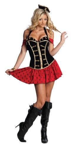 [Secret Wishes Womens Playboy High Seas Honey Costume, Black/Red, Small] (Playboy Bunny Costume Red)