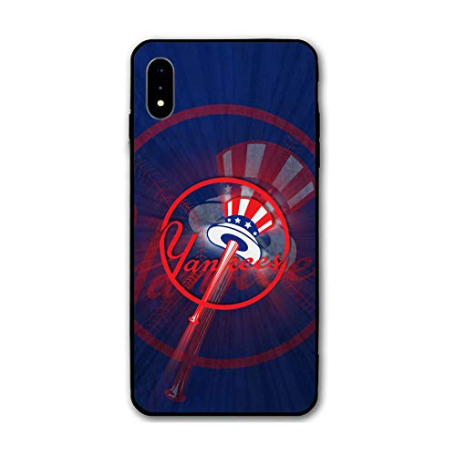 (Tesuo Baseball Phone Case for iPhone XR Slim Fit Shock TPU Anti-Scratch Hard Backplate Back Protective Cover for iPhone XR - Black (NY Yankees-Blue))