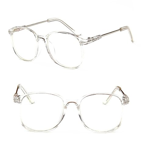 Chezi Lightweight Transparent Plastic Frame Metal Arm Square Eyeglasses (full clear, - Eyeglasses Arms Replacement