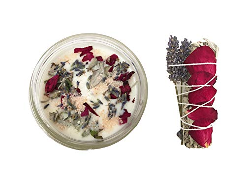 TOMOKO White Sage Smudge Kit - 1 White Sage with Rose and Lavender, 1 White Sage Scented Candle (8oz) with Rose, Lavender and Himalayan Salt!! Healing, Purifying, Meditating, Incense & Cleansing