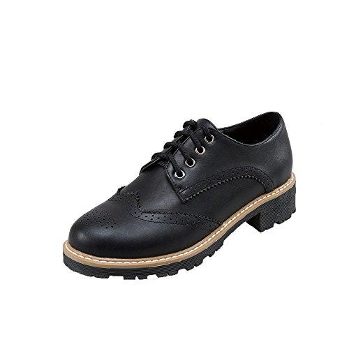 Rond Unie Talon Bas PU Femme Lacet Chaussures Cuir Légeres Couleur AalarDom Noir à H4FFw