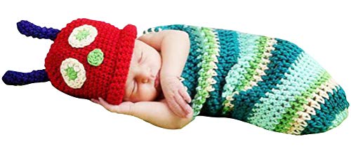 Newborn Unisex-Baby Caterpillar Cosplay Costume, Cute Infant Photography Props Sleeping Bag (A)]()