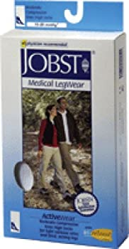 BSN Jobst ActiveWear Knee High Moderate Compression Socks Extra-Large, Cool White, Closed Toe, Unisex, Latex-free (Pair of 2 Each)