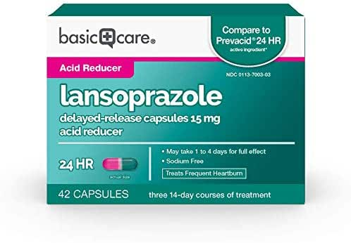 Amazon Basic Care Lansoprazole Delayed Release Capsules  15 Mg, 42Count