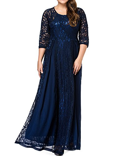 Ankle Length Gown - GMHO Women's Plus Size 3/4 Sleeve Lace Maxi Bridesmaid Dress Gown (1X, Blue)