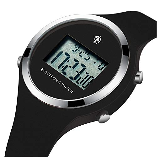 5 Sport Jelly Digital (Watch, Girls Digital Jelly Watch Elegant Sports Waterproof Watch,Simple Cute Wrist Watches with Alarm Stopwatch Outdoor LED Multi Functional Wrist Watches (Black))