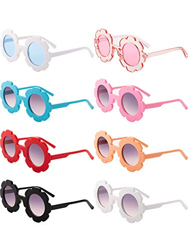 8 Pieces Kids Sunglasses Cute Round Sunglasses Flower Shaped Sunglasses for Boys Girls Party Accessories (Color ()