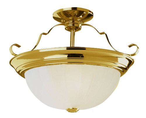 Frosted Melon Glass Light Fixture (Trans Globe PL-13213 ROB Two Light Semi-Flush Mount, Rubbed Oil Bronze Finish with Frosted Melon Glass)