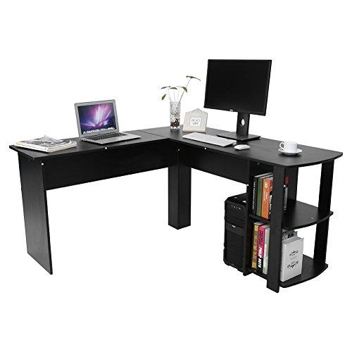 On sale yosoo forma l mesa escritorio de computadora pc ordenador port til con estanter a de - Mesa para ordenador portatil ...