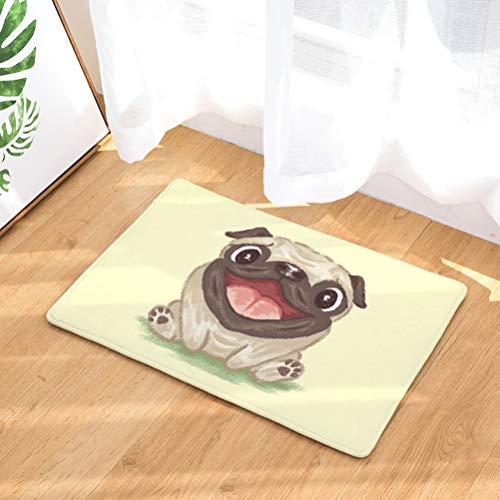 YJBear Lovely Cartoon Sitting Pug Puppy Dog Pattern Floor Mat Coral Fleece Home Decor Carpet Indoor Outdoor Area Rug Rectangle Doormat Kitchen Floor Runner 20