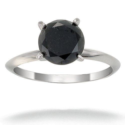 - 2 CT Black Diamond Solitaire Ring 14K Gold In Size 6