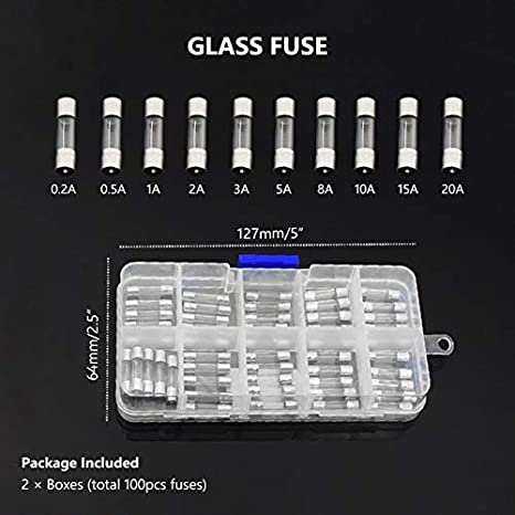 Clear 12A Pack of 100 pcs Fast-Blow Fuse 250V Glass Fuses 5 x 20 mm