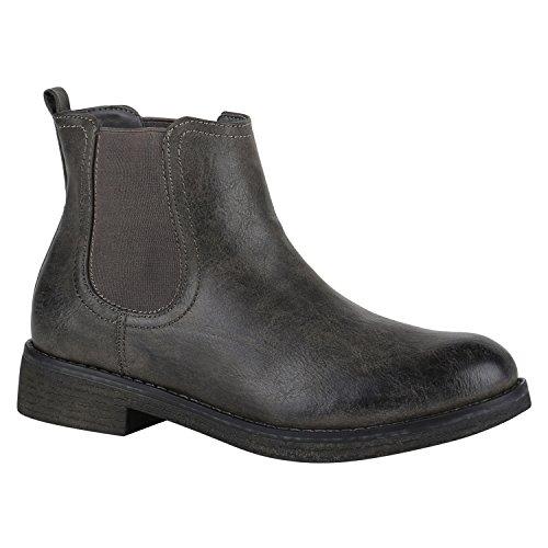 Stiefelparadies Damen Stiefeletten Chelsea Boots mit Blockabsatz Profilsohle Flandell Grau Arriate