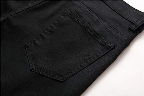 Fori Tempo Dritto Maschi Slim Pantaloni Black Metà Piedi Libero Jeans Vita Della Vestibilità Elasticità Versaces 8qwA0vA