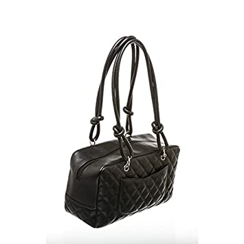 53583cf6e8dd Chanel Pre-Owned Black Quilted Lambskin Leather Cambon Bowler Bag   Amazon.co.uk  Luggage