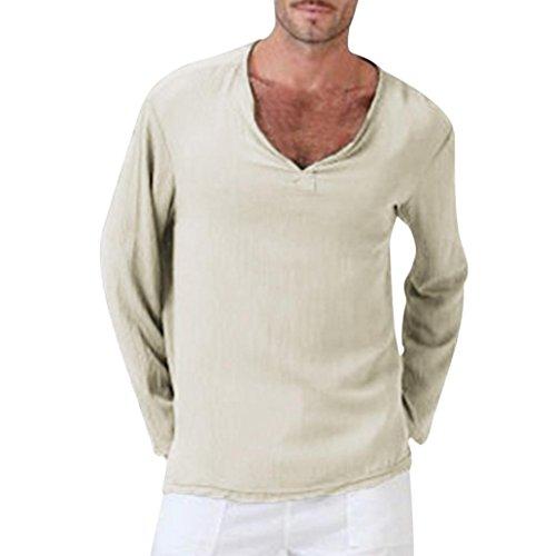 Clearance Men Long Sleeve T Shirts vermers Mens Cotton Linen Thai Hippie Shirt V-Neck Beach Yoga Top Blouse(2XL, Khaki)