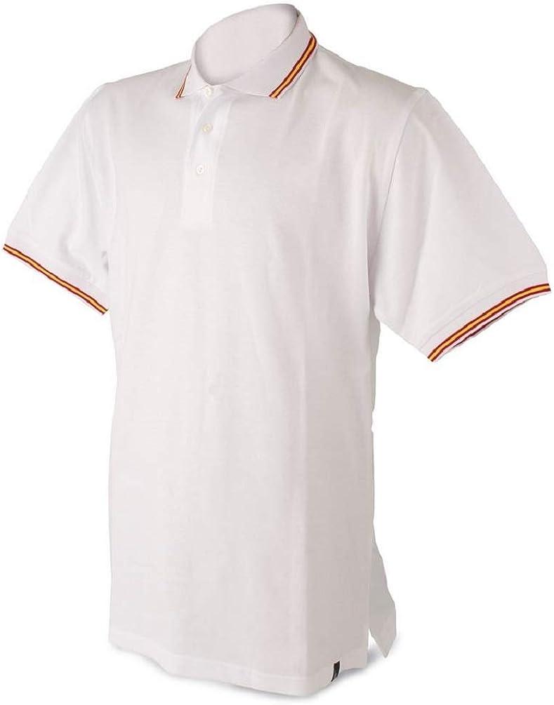 Polo Hombre Bandera de españa, Blanco, algodón 100% (XL): Amazon.es: Ropa y accesorios