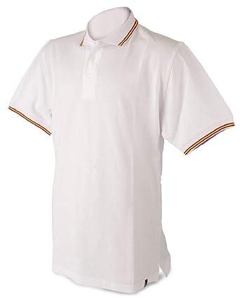 Polo Hombre Bandera de españa, Blanco, algodón 100%: Amazon.es ...
