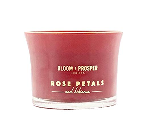 (Bloom & Prosper Candle Co Richly Scented Wooden Wick Candle Rose Petals and Hibiscus)