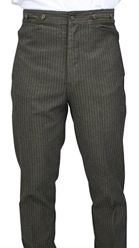 Historical Emporium Men's High Waist Ludlow Cotton Striped Trousers 48 Taupe/Navy